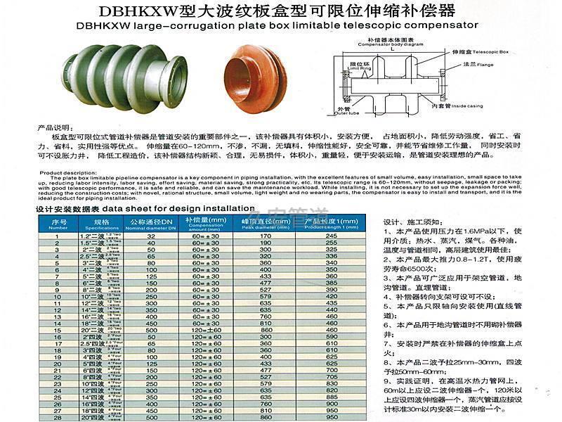 大板盒波纹补偿器数据表
